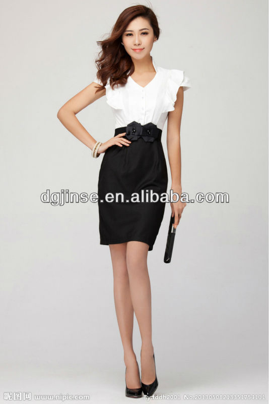 2013 Summer Chic V-shape Flouncy Sleeves Black-white Slim Fit Simple Style Office Ladies Career Professional Dress
