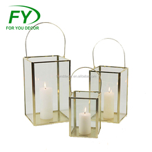 ML-2609 Set Of 3 Good Quality Best Price Stainless Steel Gold Lantern With Glass