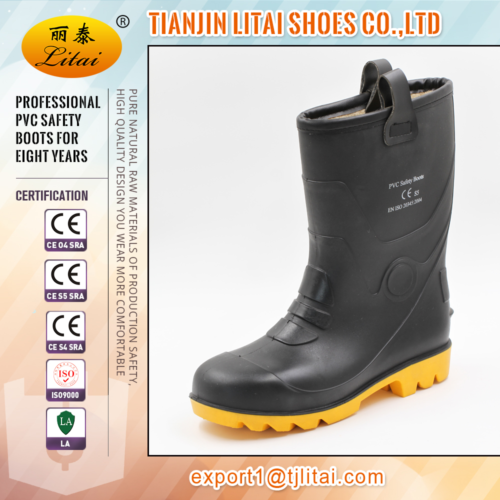safety waterproof pvc rigger boots furlined midsole work steel toe WELLINGTON