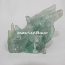 Natural quartz crystal dragon skulls, crystal dragon head carving, green fluorite dragon skull