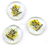 30mm Beautiful Clear Glass Stones Engraved with Chinese and English Words