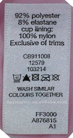 fine and clear garment printed care label