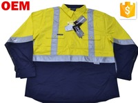 Mens Two Tone 3M Poly/Cotton Hi Vis Fluorescent Yellow/Navy Reflective Work Shirt