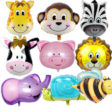animal face monkey lion elephant pig giraffe bee shape foil balloon