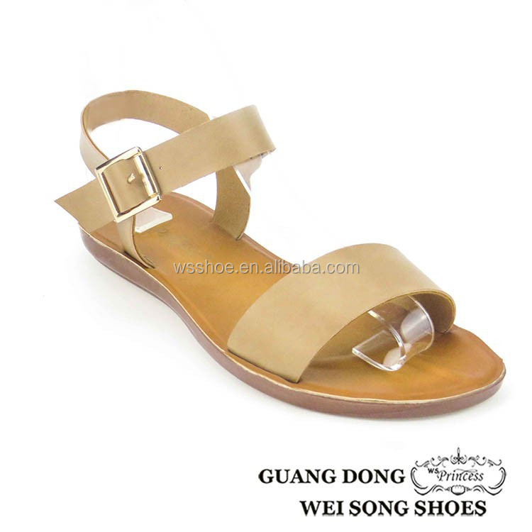2015 summer latest beautiful fashionable buckle pu sole slip-on women sandals exquisite nude sof comfort shoes