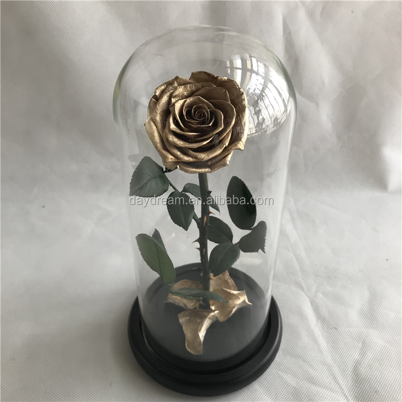Gold preserved rose in glass domedecorative flower gold&silver rose long last rose in dome