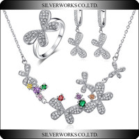 Custom design 925 sterling silver flower jewelry set with zicron wholesale