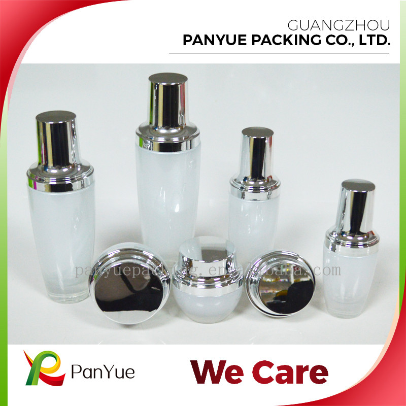 Luxury White Skincare Cosmetic Glass Bottle 30ml Cosmetic Face Cream for Empty Glass Packaging Bottle Jar with Lid