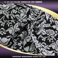 Direct china manufacture polyester 97 spandex 3 butterfly knitting black jacquard hawaiian fabric