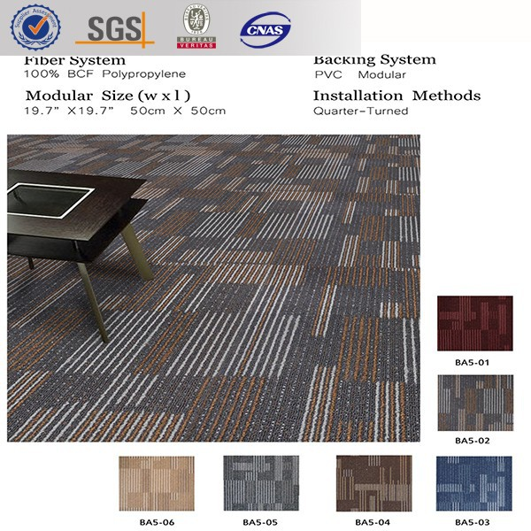 BA5 100% pp with pvc backing, cheap loop pile designs, office commercial 50*50cm tile carpet