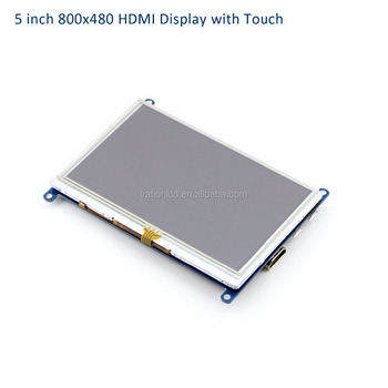 "5"" 800x480 LCD HDMI Display with 5V/1A/2A mini-USB power supply for Raspberry Pi and PC HDMI Input and Touch screen"