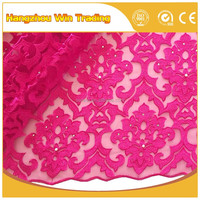 Latest products 2016 pearl beaded african french lace fabric / tulle fabric with rhinestones