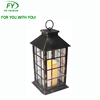 Popular wholesale country style antique golden finished plastic lantern with LED candle