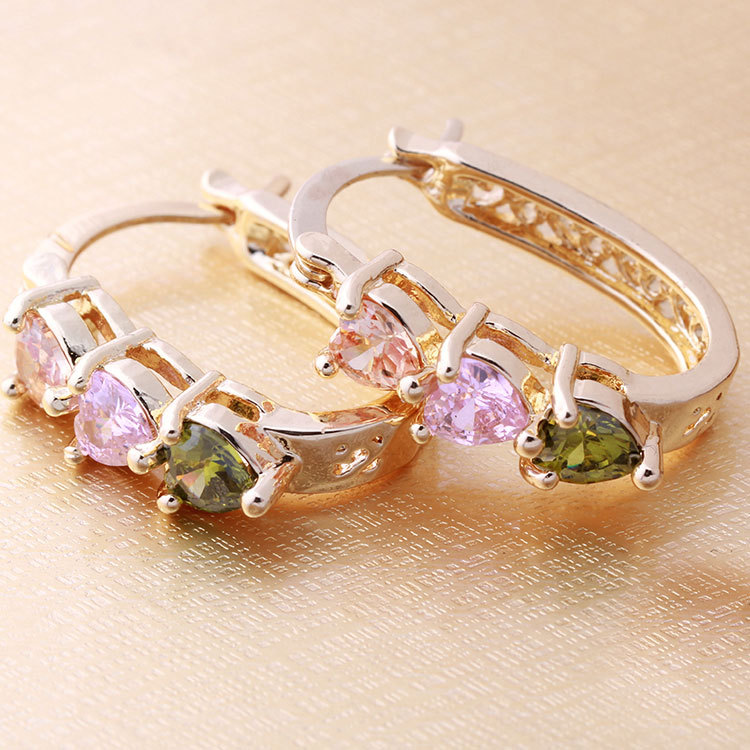 Alibaba express Rose gold plated huggie earrings jewelry,gold earrings 2012 new design