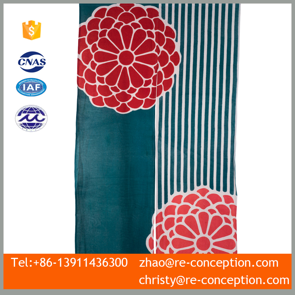 Magnetic Hanging 100% Cotton Printed Flower Green Door Curtain 150 x 85 CM