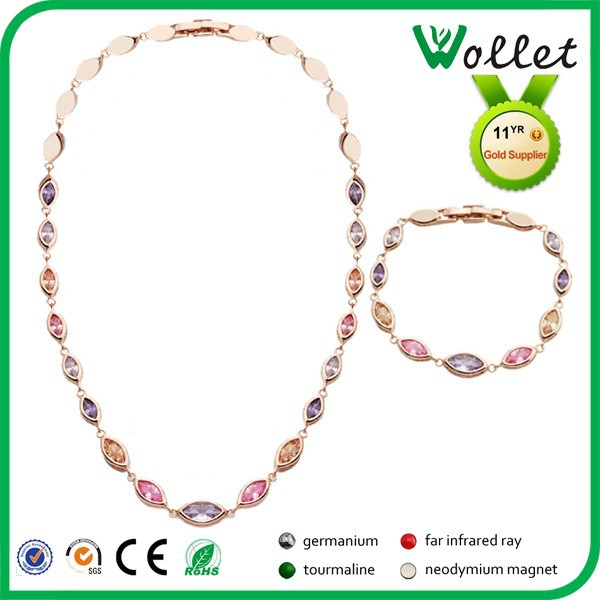 2015 wollet cheap colorful crystal stone rose gold plated elegant jewelry sets for women
