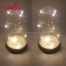 Wholesale handmade led clear decorative glass cloche christmas dome with wood base
