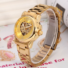 Winner Golden Heart Shape Skeleton With Gold Color Stainless Steel Bracelet Lady Watches,jam tangan wanita