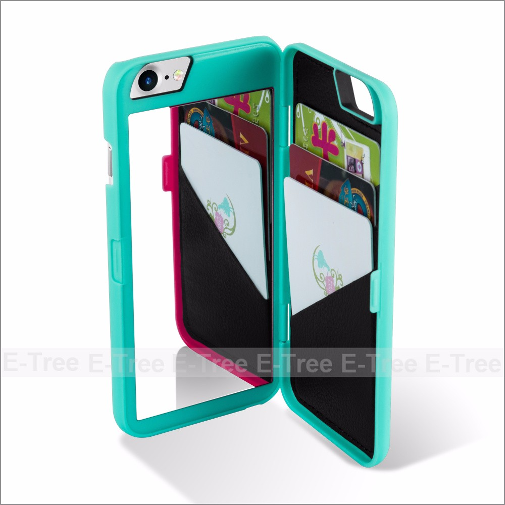 Wallet Plastic Mirror Mobile Phone Case Back Cover For iPhone 7