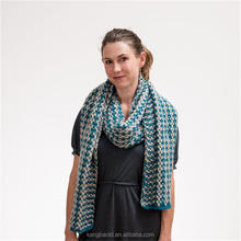 Fine custom Mosaic Design Pure New Wool Hand Knit Scarf and Wrap with Teal and Cream color