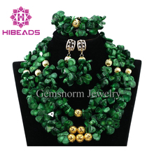 2017 fashion african green coral beads jewelry set for women nigerian coral beads necklace design