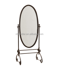 Wholesale Antique Brown Metal Cheval Oval Standing Floor Mirror