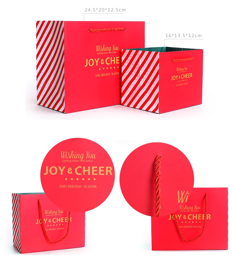 diseño de precio de fábrica bolso de mano de papel rojo, bolsa de papel de producción costo