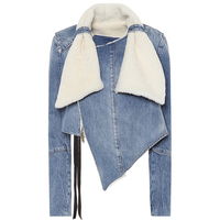 Fashion Clothing for Women 2019 Ladies Faux Shearling-trimmed Denim Jacket