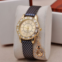 New design Diamond Watch Gold Dial Leather Band Quartz Wrist Watch Black for christmas girl gift watch