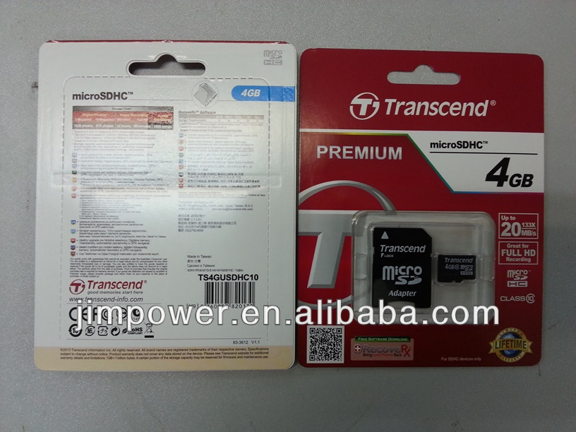 Transcend Micro SD Class 10 with adaptor 4G