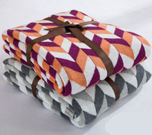 Super soft 100% Cotton Knitted jacquard throw blanket