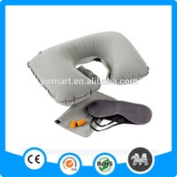 New Arrival Stocking Comfortable Inflatable Flock Travel Pillow
