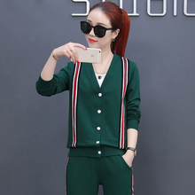 OEM Wholesale mens women striped side V collar Button hoodies casual pants fashion leisure home women 3 pieces suit