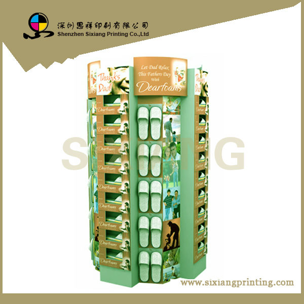 Design and Printing POS Corrugated Retail Promotion Cardboard Shoes Display Stand for Supermarket
