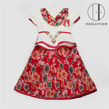 690-1Rose Red Yiwu Haolaiyuan Attractive new type Lace Girl evening latest design dress for flower girls