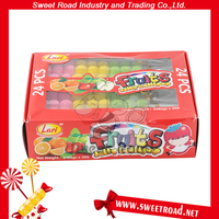 3 Colors Fruits Flavour Mini Jelly Ball Lollipop Jelly Gummy Candy Lollipop
