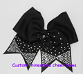 polyester Grosgrain Rhinestone Cheer Bows With Elastic Bands for hair accessories