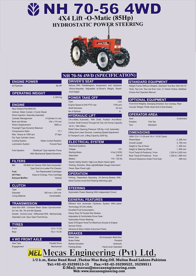 Fiat New Holland Tractor 4WD NH 70-56