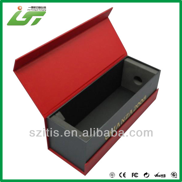 red and black printing book style single wine gift box with EVA tray