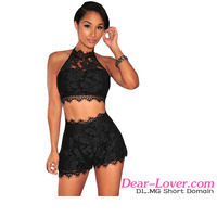 Wholesale Sexy Clubwear 2016 Black Lace Cropped women summer Short Set