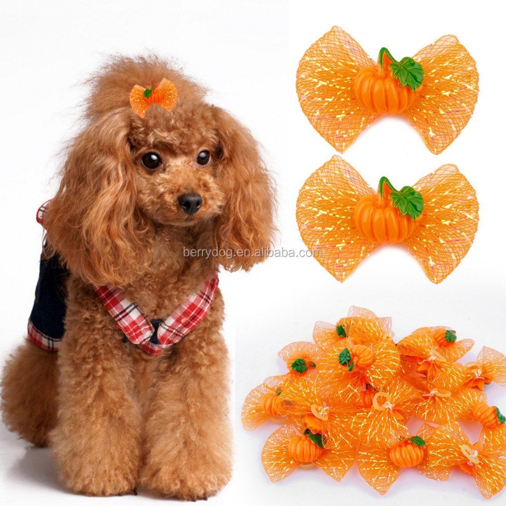 Wholesale Halloween Pumpkin Dog Pet Hair Bow With Rubber Bands