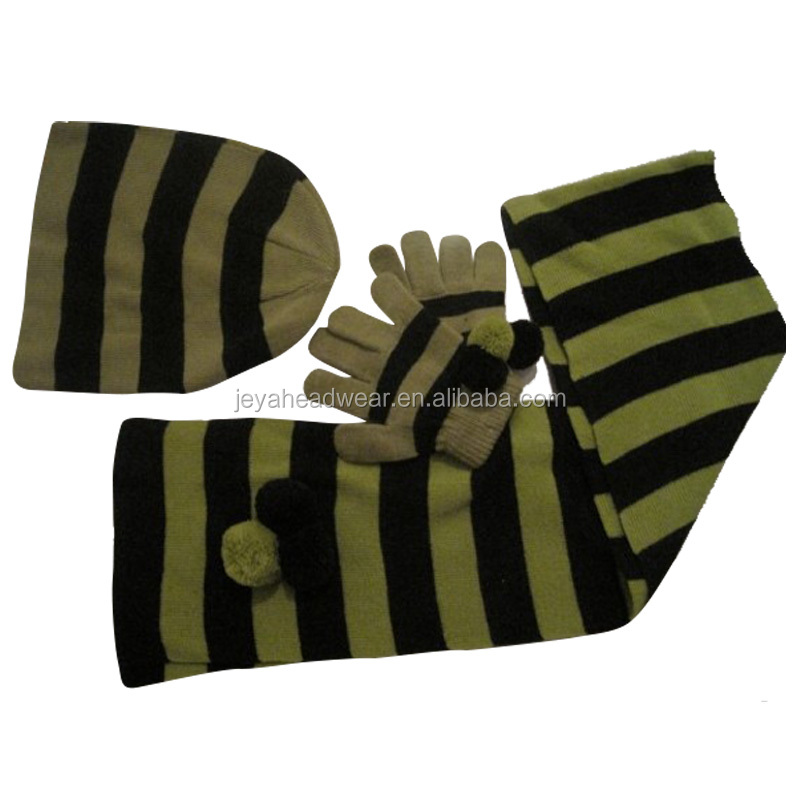 Olive green black striped knitted beanie hats scarf and gloves set for childern