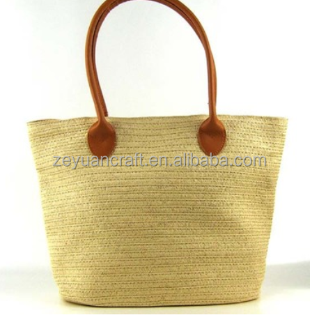 Fashion simpleness taste solid color paper straw bag tote bag