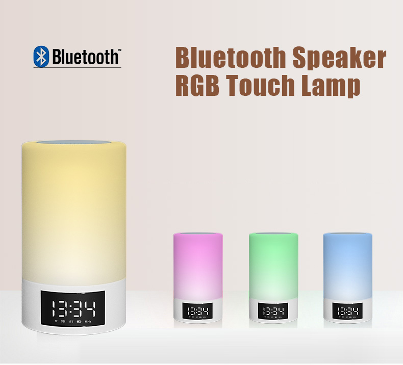 LED Bluetooth Speaker Bedside Lamp Touch Sensor Table Lamp Dimmable Color Changing Time Display RGB Bluetooth Speaker Lamp