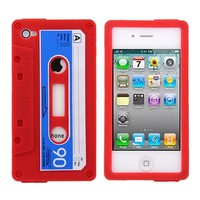 NEW RETRO VINTAGE SOFT SILICONE CASSETTE TAPE BACK CASE FOR iPHONE 4 4S