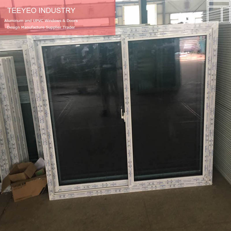 Insulated vinyl double glazed window styles with four sliding rollers