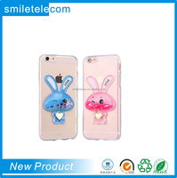 Smile own design 3D Rabbit crystal clear quicksand liquid star moving gitter phone case for iphone 6 6S 6S plus
