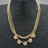 Multilayer Gold Chain Glass Flower Necklace