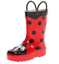 Wholesale adult shining antisilp lightweight childrens ladybug rubber rain boots