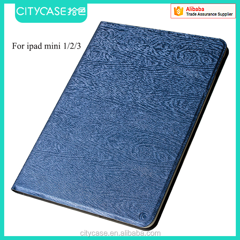 city&case wood grain fabric leather case for ipad mini 1/2/3